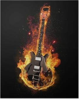 Poster E Gitarre unter Feuer