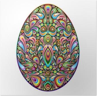 Poster Easter Egg Psychedelic Art Design Uovo di Pasqua Ornamentale
