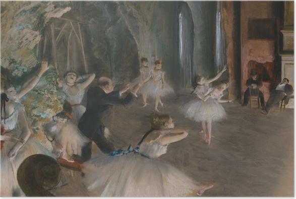 Poster Edgar Degas - Ballettprobe auf der Bühne - Reproduktion