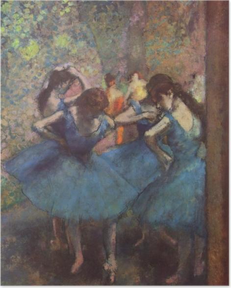 Poster Edgar Degas - Tänzerinnen in Blau - Reproduktion