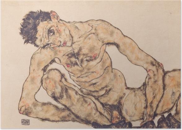 Poster Egon Schiele - Aktselbstbildnis - Reproduktion