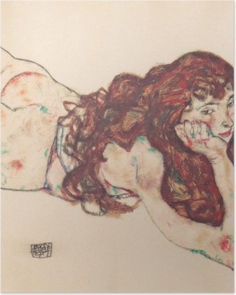 Poster Egon Schiele - Auf dem Bauch liegender weiblicher Akt - Reproduktion