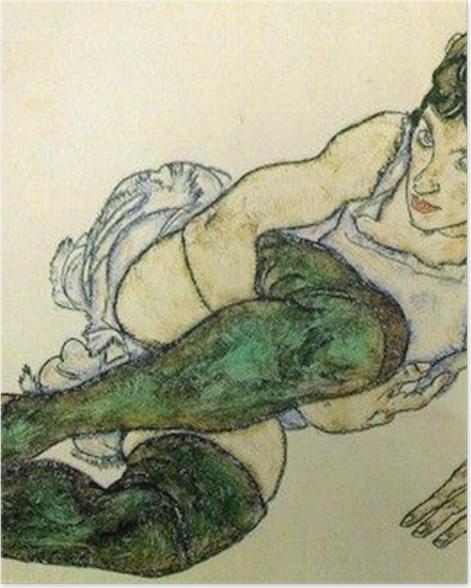 Poster Egon Schiele - Frau mit grünen Strümpfen - Reproduktion