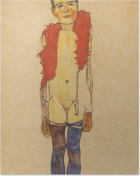 Poster Egon Schiele - Mädchen mit Federboa - Reproduktion