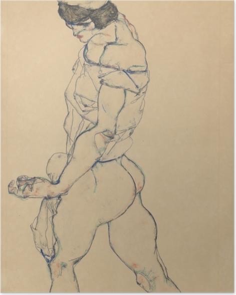 Poster Egon Schiele - Nach links schreitender Frauenakt - Reproduktion