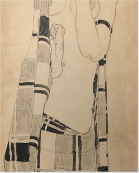 Poster Egon Schiele - Stehendes Mädchen in kariertem Tuch - Reproduktion