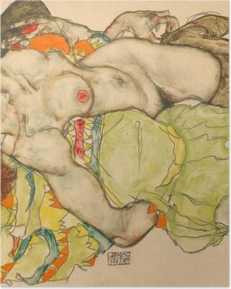 Poster Egon Schiele - Weibliches Liebespaar - Reproduktion