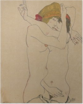 Poster Egon Schiele - Zwei Frauen umarmen sich