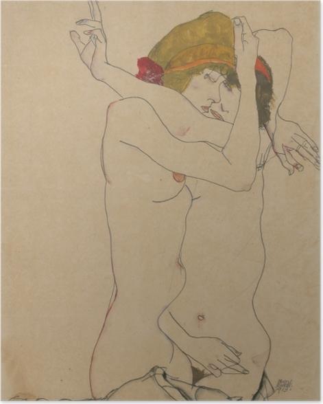 Poster Egon Schiele - Zwei Frauen umarmen sich - Reproduktion