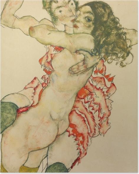 Poster Egon Schiele - Zwei Freundinnen - Reproduktion