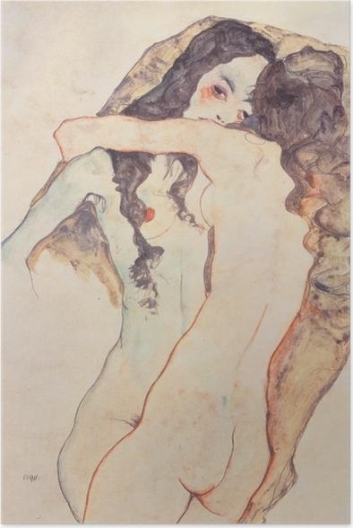 Poster Egon Schiele - Zwei sich umarmende Frauen - Reproduktion