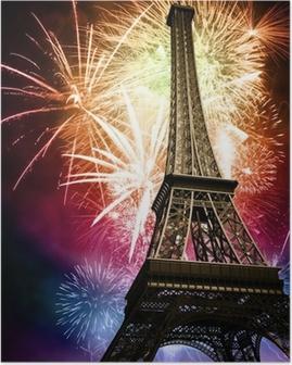 Poster Eiffel mit Feuerwerk