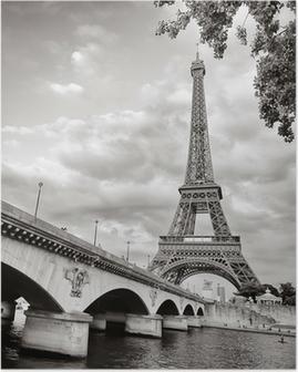 Poster Eiffelturm Ansicht von Fluss Seine quadratischen Format