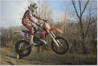 Poster Ein Sprung Fahrer auf einem Motorrad Motocross