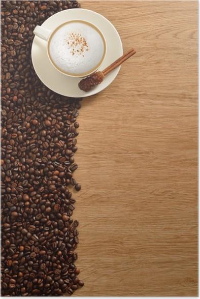poster eine tasse cappuccino und kaffeebohnen auf alten holz hintergrund pixers wir leben. Black Bedroom Furniture Sets. Home Design Ideas