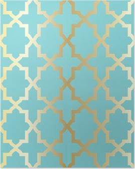 Poster Einfache abstrakte Muster Arabeske - türkis und golden.