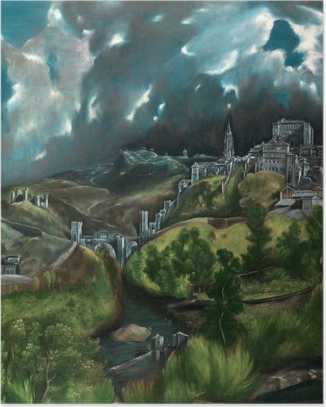 Poster El Greco - Blick auf Toledo (Gewitter über Toledo) - Reproduktion