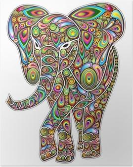 Poster Elephant Psychedelic-Pop-Art-Design auf weißem