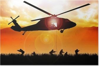 Poster Elicottero è in calo le truppe