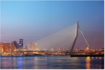 Poster Erasmus-Brücke in Rotterdam in der Dämmerung