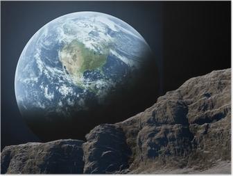 Poster Erde vom Mond aus gesehen.