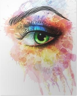 Poster Eye of bunte Spritzer gemacht