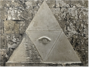 Poster Eye of Providence simbolo inciso in pietra calcarea