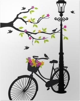 Poster Fahrrad mit Lampe, Blumen und Bäumen, Vektor