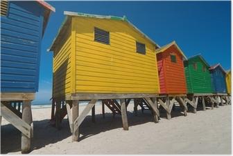 Poster Farbigen Strandhütten in der Nähe von Kapstadt - low angle