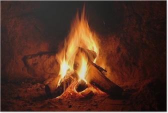 Poster Feuer, Kaminfeuer, Flammen,