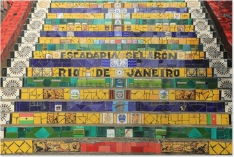 Poster Fliesen- Schritte in Lapa in Rio de Janeiro Brasilien