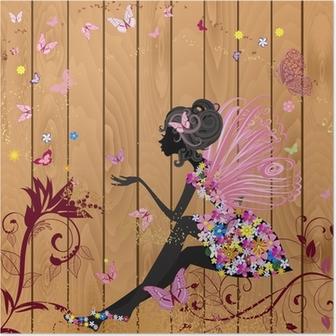 Poster Flower Fairy auf einem Holz Textur für Ihr Design