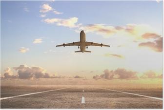 Poster Flugzeug auf der Landebahn