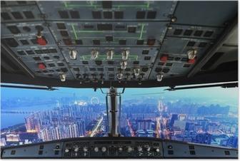 Poster Flugzeug-Cockpit und Stadt Nacht