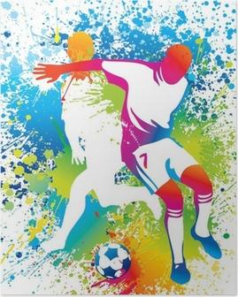 Poster Football-Spieler mit einem Fußball