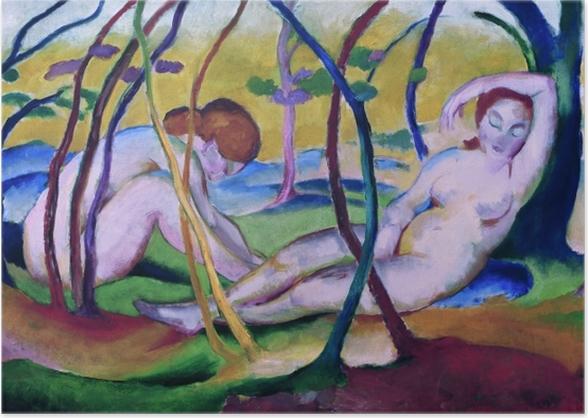 Poster Franz Marc - Nude sotto gli alberi - Reproductions