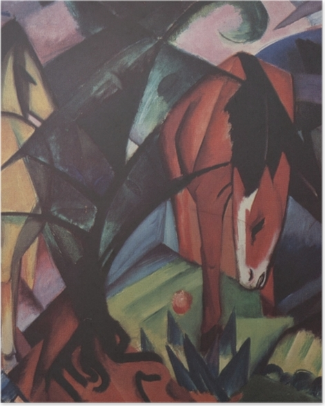 Poster Franz Marc - Pferde und Adler - Reproductions