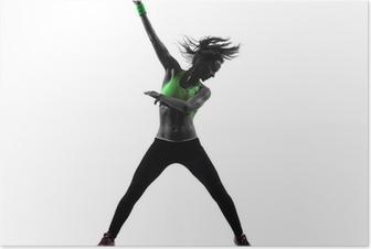 Poster Frau ausüben Fitness Zumba tanzen Silhouette