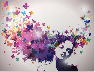 Poster Frau mit einem Schmetterling im Haar.