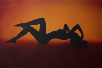 Poster Frau sexy Silhouette auf rot orange Hintergrund liegen