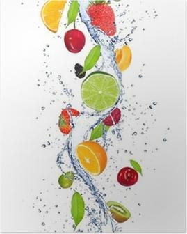 Poster Frutta fresca che cadono in acqua spruzzata