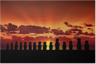 Poster Fünfzehn Moai bei Sonnenuntergang in Osterinsel