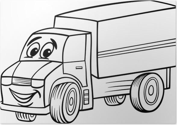 Poster Funny truck Cartoon für Malbuch • Pixers® - Wir leben, um zu ...