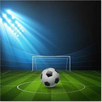 Poster Fußball-Arena mit einem Fußball. Vektor