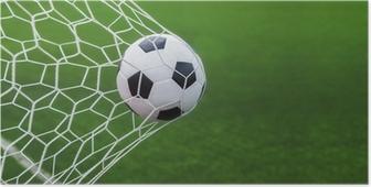 Poster Fußball Ball ins Tor mit grünen backgroung