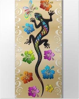 Poster Gecko Reptilien und Hibiscus Tattoo Design Tattoo Gecko-Banner