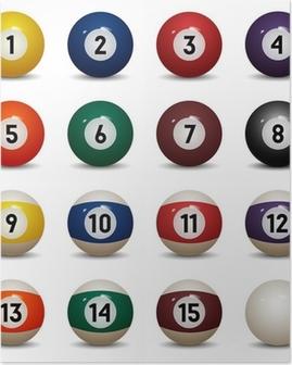 Poster Getrennte farbige Billardkugeln. Zahlen von 1 bis 15 und Null-Ball