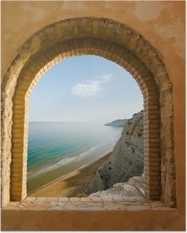 Poster Gewölbte Fenster an der Küstenlandschaft von einer Bucht