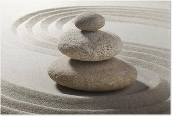 Poster Giardino zen con sabbia e ciottoli