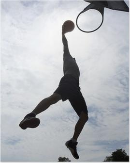 Poster Giocatore di basket slam dunk silhouette